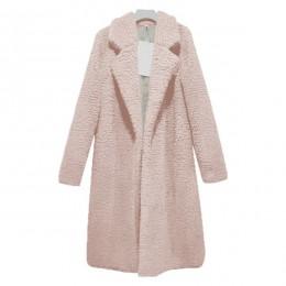 Elegancki modny płaszcz damski klasyczny ciepły długi na jesień zimę sztuczne futro kożuszek odzież wierzchnia