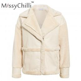 MissyChilli Faux futro patchwork miękkie płaszcz skórzany kobiet jesień krótki ciepła kurtka płaszcz kobiet puszyste teddy zima