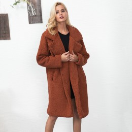 Kobiety Faux futro pluszowy płaszcz 2019 jesień zima grube ciepłe puszyste długie futro płaszcze klapy Shaggy kurtki płaszcz Plu