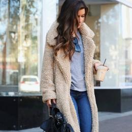 Elegancki długi Płaszcz ze Sztucznego Futra Damski Dla Kobiet jesień zima ciepły miękki kurtka pluszowy na co dzień