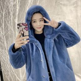 Nowy jesień zima futro płaszcz kobiety ubrania wysokiej jakości imitacja norki futro z kapturem Plus rozmiar zagęścić ciepłe dłu