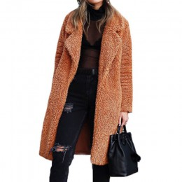 Płaszcz zimowy sztuczne futro wełna owcza prochowiec z długim rękawem ciepły elegancki długi