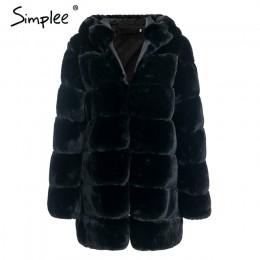 Simplee Vintage fluffy bluza z kapturem faux fur coat kobiety zima szary kurtka płaszcz kobieta Plus rozmiar ciepłe długie codzi