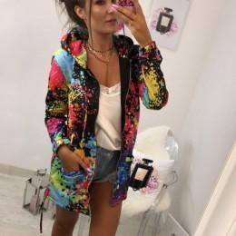 Odzież wierzchnia i płaszcze kurtki moda Tie farbowanie Print znosić bluza z kapturem płaszcz płaszcze i kurtki kobiety 2018AUG1