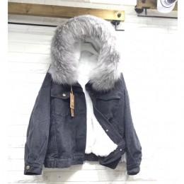 Aksamitna gruba kurtka dżinsowa kobiet zima duże futro kołnierz koreański lokomotywa lamb płaszcz kobiet student krótki płaszcz