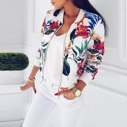 Plus rozmiar wiosna kurtki damskie Retro kwiatowy drukowane płaszcz kobiet z długim rękawem odzież wierzchnia krótki Bomber kurt