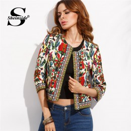 Sheinside haft odzież wierzchnia zima Tribal drukuj biuro panie kobiety płaszcze i kurtki w stylu Vintage jesień z długim rękawe