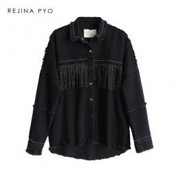 Rejina pyo kobiety czarny wysokiej jakości luźna kurtka dżinsowa płaszcz cekinami frędzle Streetwear cały mecz psychicznego zada