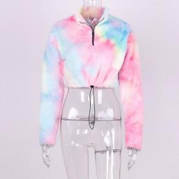 Hugcitar z długim rękawem na zamek wysokiej szyi Faux kurtka z owczej wełny crop topy 2018 jesień zima kobiety moda trwały płasz