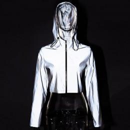 ZHYMIHRET 2019 wiosna nowy odblaskowe kobiet kurtka na co dzień sportowe z kapturem krótki płaszcz kobiety Crop Top Casaco Femin