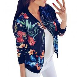 Czarny kwiatowe nadruki retro kobiety krótki wiosna kurtka O-Neck z długim rękawem Slim kobiety bombowiec kurtka Plus Size cienk
