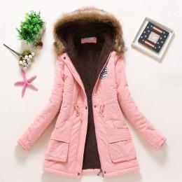 Kobiety zima ciepły płaszcz kobiet jesień bawełna futro z kapturem Plus Size podstawowe kurtka odzież wierzchnia szczupła długie