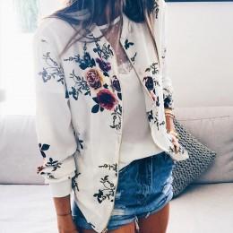 Retro kwiatowy drukowane krótkie kurtki kobieta Zipper Bomber kobiet wiosna znosić na co dzień z długim rękawem odzież damska Pl