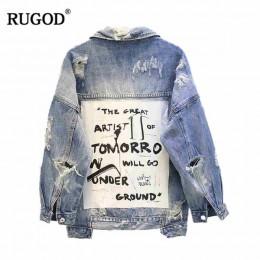 RUGOD podstawowe płaszcz bombowce tkanina w stylu vintage Patchwork kurtka dżinsowa kobiety Cowboy Jeans 2019 jesień postrzępion