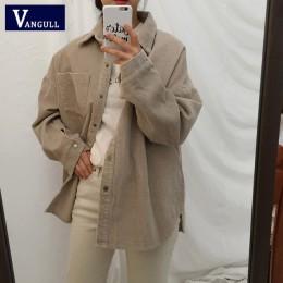Nowy Harajuku sztruks kurtki damskie zimowe jesień płaszcze Plus rozmiar płaszcze damskie duże topy słodkie kurtki jednolity kol