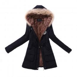 Kobiety Parka moda jesień ciepłe kurtki zimowe futrzany kołnierz damski płaszcze długie parki bluzy biurowe Lady bawełna Plus ro