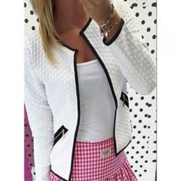 Wiosna kurtka kobiety moda jednolity kolor kieszeń na zamek błyskawiczny na co dzień płaszcz plus rozmiar S-4XL szkocką sweter o