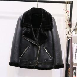 AOEMQ Retro nowa klapa i aksamitne wyściełane futro jeden płaszcz ciepły moda PU skórzane Lamb włosów odzież motocyklowa kurtka