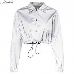 Macheda moda kobiety odblaskowe skręcić w dół kołnierz klamra sznurek kurtki z długim rękawem bluza płaszcz panie podstawowe kur