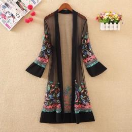 Nowych kobiet kwiatowy haftowane długa kurtka lato netto sweter na co dzień z długim rękawem cienkie płaszcze damskie w stylu Vi