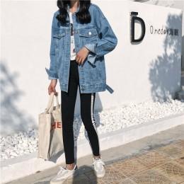 YOCALOR solidna Jean jeansowa kurtka dla kobiet luźne na co dzień niebieski damskie płaszcze damskie znosić Denim kobiece Chaque