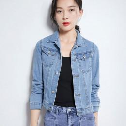 2019 moda jeansowa kurtka kobiety wiosna 2XL XL wiosna jesień szczotka ręczna z długim rękawem Stretch krótka kurtka dżinsowa bi