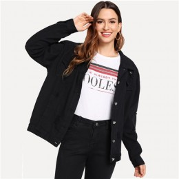 COLROVIE Ripped Drop Shoulder Women Denim Jackets Black White Oversize Purple Casual Female Jacket Coat Chic Jacket for Girls