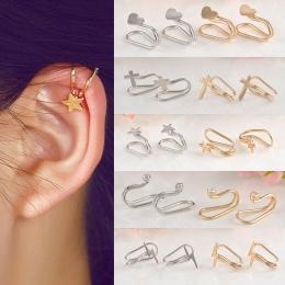Moda 1 Pc Srebrzyste/Golden Ear Cuff Kolczyki Kobiety Urocze Gorące Non Piercing Chrząstki Ucha Klip