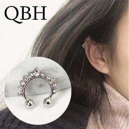 Nowa Moda Kolczyki Klipu Dla Kobiet Imitacją Perły Krzyż Trójkąt Kryształ Hollow w kształcie litery U Kości Ucha Mankiet Niewido