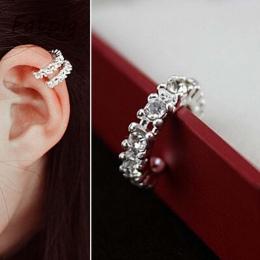 Błyszczące Wdzięku Kobiety Lady Fashion Srebrny Złoty Kryształ Rhinestone Ear Cuff Wrap Chrząstka Klip Kolczyk