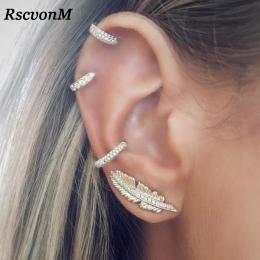 RscvonM Rocznika Liść Klip Na Kolczyki Złoty Kolor Kryształ Ear Cuff Pendientes De Klip Kobiety Kolczyki Ear Wrap Earcuff Brinco