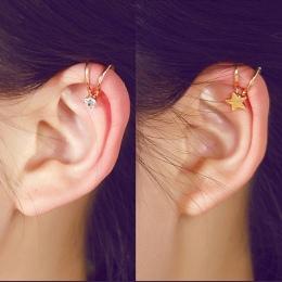 Koreański Styl Serce Gwiazda Pearl Ear Cuff Klip Na Kolczyki Dla Kobiet Fashion Girls Biżuteria 5E202