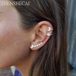 3 SZT/USTAWIĆ ręcznie gwiazda księżyc Mankietów Kolczyki Proste klip ucha Biżuteria kolczyk dla kobiet akcesoria mody Prezent e0