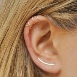 Koreański Styl Prosty krzyż podwójne Kolczyki Klipu Dla Kobiet Trendy Mody Dziewczyny Wakacyjne Biżuteria złota, srebra, czarny