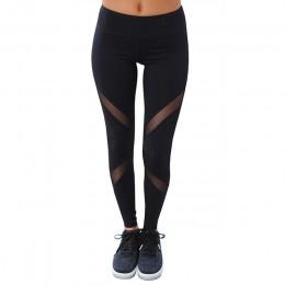 CHRLEISURE Sexy kobiety legginsy Gothic wkładka Mesh projekt spodnie spodnie duży rozmiar czarny Capris odzież sportowa nowy fit