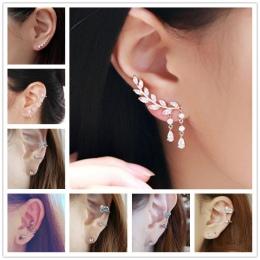 Nowy Klip Kolczyk Brincos Symulowane Perłowej Kolczyki Kryształowe Serce Liść Kwiat Gwiazdy Kości Ucha Mankiet Dla Kobiet Mężczy