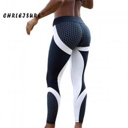 CHRLEISURE Fitness Legging geometryczny o strukturze plastra miodu druk cyfrowy legginsy wysokiej talii Hip oddychający polieste