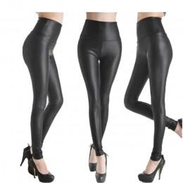 CUHAKCI Legging darmowa dropshipping kobiety Hot Sexy czarny mokro wygląd Faux skórzane legginsy Slim błyszczące spodnie Plus ro