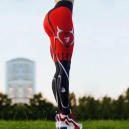 NADANBAO 2019 kobiety legginsy w kształcie serca w kształcie serca druk cyfrowy Patchwork Fitness Legging Push Up treningu Plus