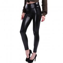 NORMOV S-5XL Plus rozmiar skórzane legginsy kobiety legginsy z wysokim stanem Stretch Slim czarne legginsy moda PU spodnie skórz