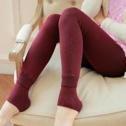 Feilibin Winter Women legginsy grube ciepłe spodnie zimowe wysoka wyszczuplająca talia zagęścić wysokie elastyczne damskie ciepł