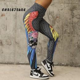 Elastyczne dopasowane długie legginsy sportowe oryginalny wzór skrzydła czaszka wygodne na fitness w kolorze czarno białym