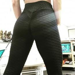 Elastyczne dopasowane legginsy sportowe na siłownię fitness długie z wysokim stanem oryginalne marszczenia kolor biały czarny