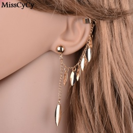MissCyCy Złoty Kolor Kolczyki Dla Kobiet Czechy Biżuteria 2016 Moda Alloy Liście Tassel Ear Cuff Klip Kolczyki Z Indii