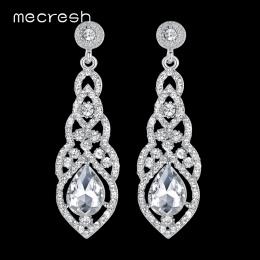 Mecresh Ślubne Kryształ Długie Kolczyki dla Kobiet Rhinestone Proste Koreański Bridal Party prom Kolczyki 2018 Biżuteria Boże Na