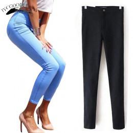 Dżinsy dla kobiet Stretch czarne dżinsy kobieta 2019 spodnie dopasowane dżinsy damskie z wysokiej talii Denim niebieski panie Pu