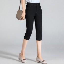 GAREMAY rozmiar Plus obcisłe Capris dżinsy kobieta kobiet Stretch długość do kolan spodenki jeansowe spodnie kobiet z wysokiej t