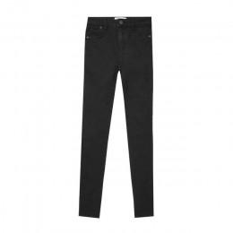 Jesień zima kobiety Denim spodnie obcisłe Super Stretch fałszywe przednia kieszeń talii niebieski szary czarny biały Slim elasty