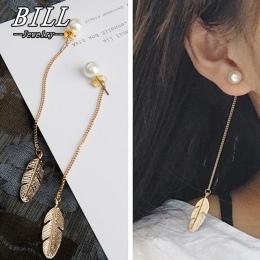 Symulowane Perły Długi Kutas ES287 Liść Feather Wypadania Dangle Kolczyki Dla Kobiet Brincos Bijoux boucle d'oreille Biżuteria K