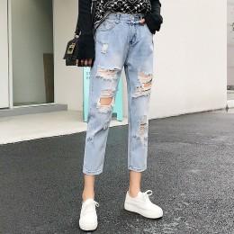 Porwane dżinsy dla kobiet niebieskie luźne Vintage kobiece moda kobiety wysokiej talii w nowym stylu workowate dżinsy dla mamy s